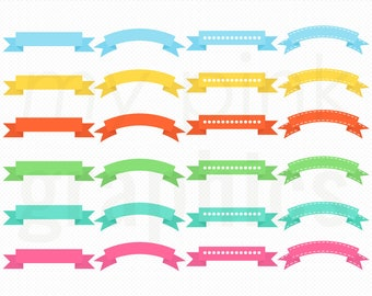 24 Ribbons - Rainbow Ribbon Banners Blog Header Banners Clip Art Digital Clipart - PNG and EPS files - Instant Download - MPG92