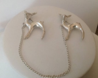 Vintage Sterling Silver FAWN/DEER Sweater Guard...Collectable!