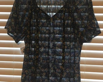 Navy Blue Floral Pattern Sheer Blouse