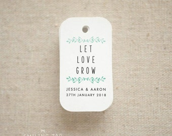 Let Love Grow Wedding Favor Tags - Personalized Gift Tags - Custom Wedding Favor Tags - Bridal Shower Tags - Set of 40 (Item code: J648)