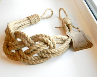 Set of 2 pcs - Jute natural rope- Curtain Tie-backs-Nautical Decor-Carrick Bend Knot
