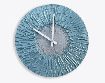Bluish Silver WALL CLOCK modern office decor house warming gift unique wall clock modern wall decor clocks
