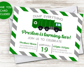 Trash party invite etsy garbage truck invitation invite 5x7 green trash truck recycle kids boys birthday party digital any age filmwisefo Image collections