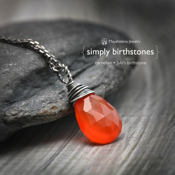Simply Carnelian - July's Birthstone Wire Wrapped Sterling Silver Necklace