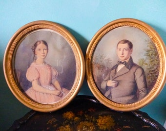 Classic Pair of Antique Victorian Watercolor Family Portraitures in Oval Frames