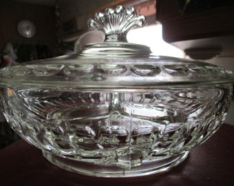 vintage clear glass 3 section lidded candy dish