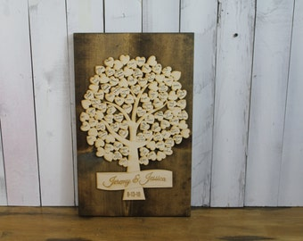 Wedding Guest book/Guest Tree/Alternative Guest book/Unique Guest book/Tree/Personalized/Wall Hanging/Wood/Heart/Heart Tree