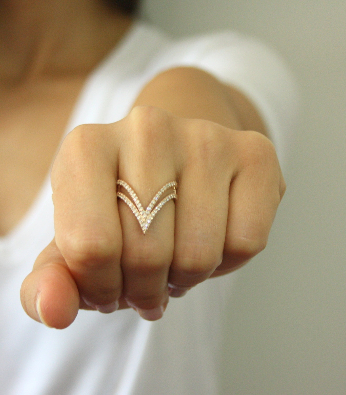 Double V Shaped Ring Double V Ring Thin Gold Ring