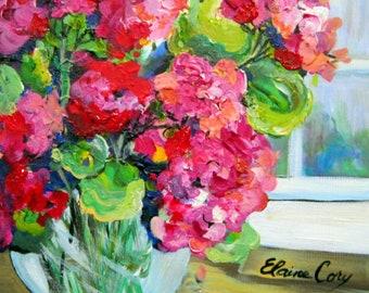 Geraniums Original painting 12 x 12 Art by Elaine Cory
