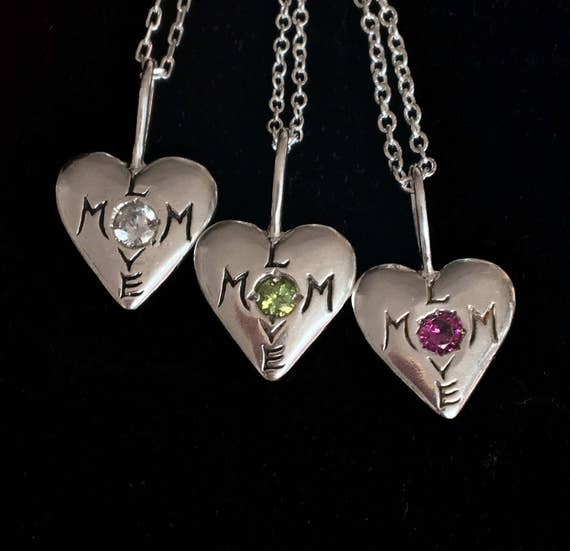 Mom Love Sterling Silver and Gemstone Necklaces