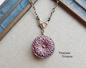 Vintage German Glass Button Necklace, Flower, Brass Ox, Copper, Raisin, Matte Finish