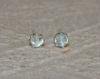 Moonstone 3mm Studs, Tiny Blue Flash Moonstone Sterling Earrings, Moonstone Post Earrings, June Birthstone, Natural Rainbow Moonstone