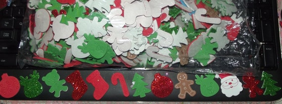 Puppy Bows ~ craft supplies FOAM CHRISTMAS STICKERS glitter trees, santa, candy canes