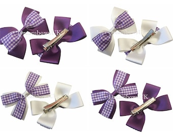 Purple and white gingham hair bows on alligator clips, purple gingham hair accessories, school hair bows for girls, crocodile hair clips