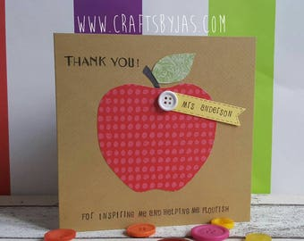 Thank You teacher card - personalised - end of year card - teacher appreciation