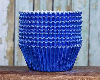 Blue Foil Cupcake Liners, Blue Foil Baking Cups, Blue Wedding Cupcake Liners, Foil Wedding Liners, Muffin Cases, 4th of July (50)