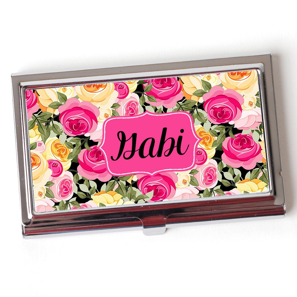 Personalized Business Card Case Floral Business Card Case