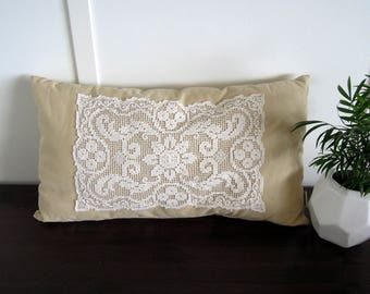 Shabby Chic Vintage Lace Pillow, 13 x 23, Decorative Throw Pillow, Green, Vintage