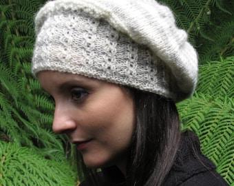 Vintage winter DK wool Beaded knitted beanie slouchy hat Knitting pattern  - DOWNLOAD PDF