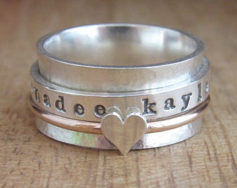Personalized Spinner Ring, Personalized Ring, Spinner Ring for Women, Silver Gold Ring, Fidget Ring, Meditation Ring, Personalized Jewelry