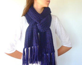 Men's knitted scarf in blue and black | Blue fringe scarf | Male scarf | Men's wool scarves