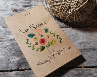 Brand New! RUSTIC Floral Watercolor Wild in Love Flower Seed Packet Favor Shabby Chic Cute Favors for Bridal Shower or Wedding, Birthday