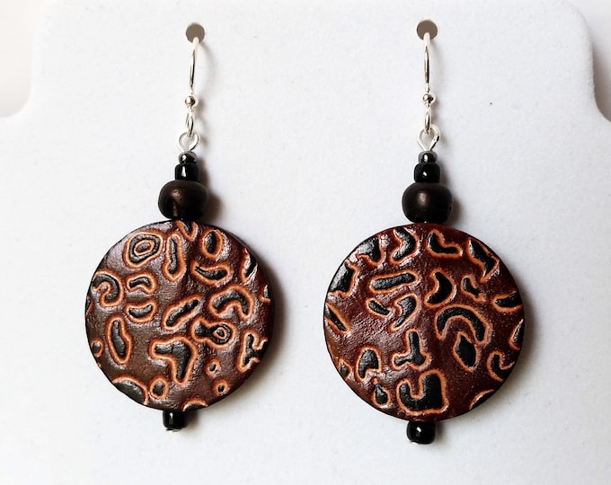 Round Mocha Leather Coin Shape Earrings with Giraffe Fur Pattern - Leather and Wood Earrings - Brown and Black Leather Earrings
