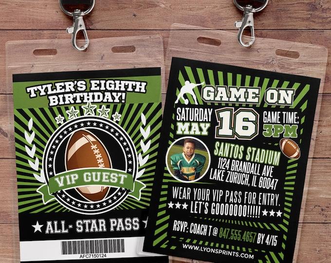 Football ticket Invitation // Super Bowl, All Star Birthday //  VIP pass, BIRTHDAY invitation, sports birthday, football baby shower