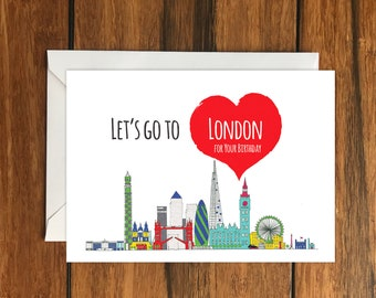 Let's Go To London for your Birthday Blank greeting card, Holiday Card, Gift Idea A6