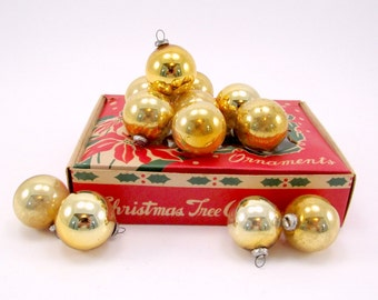 Gold Vintage Glass Feather Tree Christmas Ornaments 1950s Boxed Set Of Twelve Mercury Glass Baubles