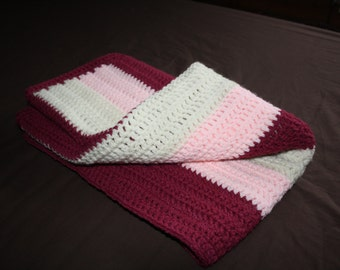 Crocheted Baby Blanket in Pink and Cream Stripes