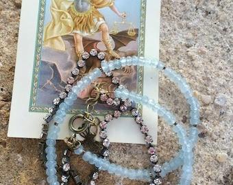 Bracelet multirangs en aigue marine naturelle et cristal de Swarovski