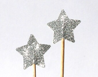 20  star silver Toothpicks, star Double Sided, Party Picks, Cupcake Topper, Baby Shower Decoration, Birthday Pick