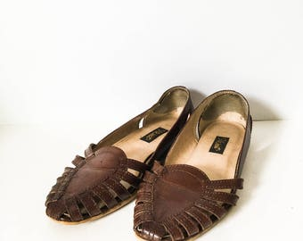 Leather Huaraches - Women's woven leather sandals - Leather flats - Woven shoes - Boho hurarache - Brown leather sandal