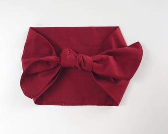 Cotton Solid Burgundy Headwrap/Headband - One Size Fits All