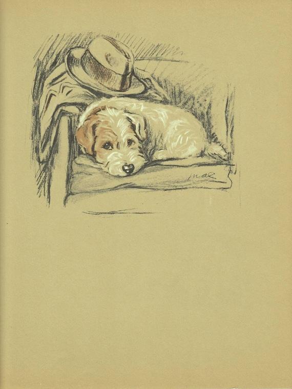 VIntage Dog Print Terrier Print Puppy Antique Wall Decor