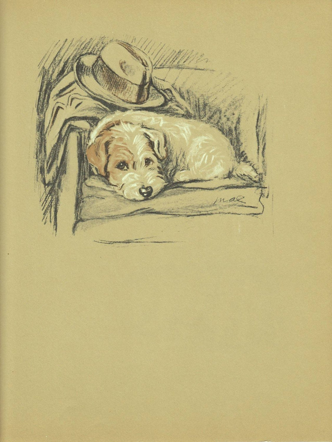 VIntage Dog Print Terrier Print Puppy Antique Wall Decor