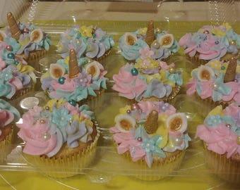 Fondant Unicorn Cupcake Toppers Set