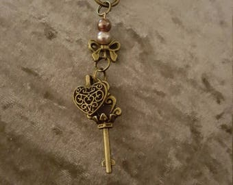 Heart and key key charm