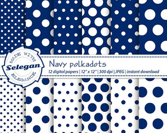 "polka dot background "" Navy Polkadots "" polka dots digital scrapbook paper baby pattern navy blue white printable background download"