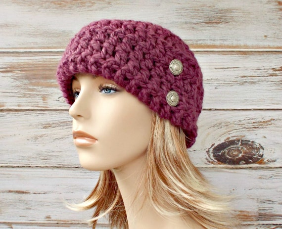 Crochet Hat Womens Hat 1920s Flapper Hat - Garbo Cloche Hat in Fig Purple Crochet Hat Purple Hat Womens Accessories