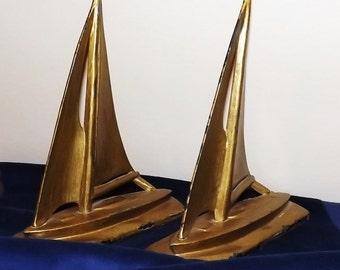 Vintage Pair of Cast Metal Sail Boat Bookends Bronze Color Deco Mid Century
