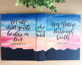 Hand Painted Bible: sunset theme