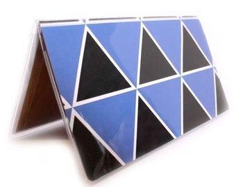Checkbook Cover - Black Mountains - triangle geometric - black and blue triangles - modern  - unisex men's or women's cehckbook holder