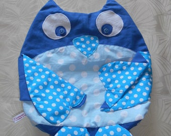 Range Pajamas OWL - blue and white polka dots