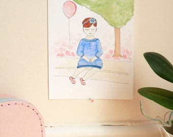 Little girl in a blue dress - original watercolor and ink illustration - girl's room