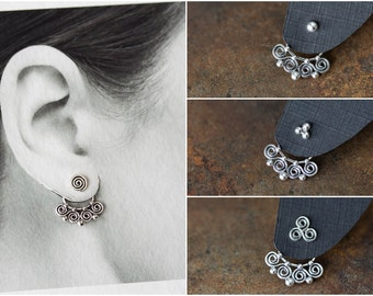 Celtic Style Silver Ear Jacket, sterling silver, unique interchangeable mix and match stud earrings, double sided earring