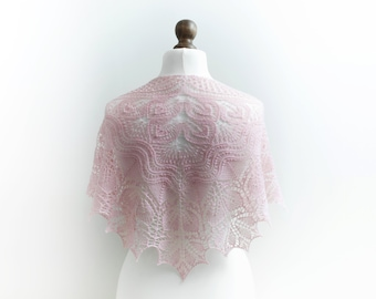 Wedding hand knit lacy shawl Bridal lace shawl in light pink merino yarn Bridal cover up Wedding accessories