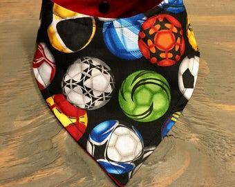 Customizable Cool 2 Drool Bib, Baby Bandana Bib, Stylish Fashion Bibdana, Sports, Soccer Bib, Soccer Balls, Multicolored