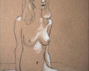 "Female Figure Drawing - Seated Nude Female Figure - original drawing, graphite and pastel on toned paper, 9x12 ""Natalie Seated"""